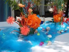 Very Cute Under the Sea Tablescape Party Centerpieces Ocean Party, Shark Party, Under The Sea Theme, Under The Sea Party, Little Mermaid Parties, 4th Birthday Parties, Party Centerpieces, A Table, Party Time