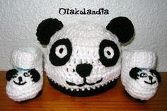 Gorro y patucos Osito Panda para bebé en crochet