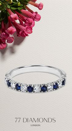 The is our #Dinastia #Eternity or #Stacking #Ring. With alternative #Diamonds and blue #Sapphires, it makes you feel #Elegant and #Regal.