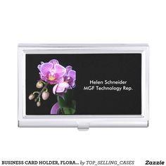 BUSINESS CARD HOLDER, FLORAL ON BLACK, CUSTOMIZE BUSINESS CARD HOLDER