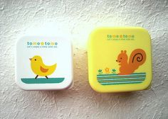 Cute 2 Small Bento Box - Tomo Tomo - Chick and Squirrel by FromJapanWithLove Japanese Kawaii Stationery, via Flickr