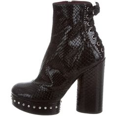 Pre-owned Marc Jacobs Python Platform Ankle Boots (685 SGD) ❤ liked on Polyvore featuring shoes, boots, ankle booties, black, studded ankle boots, black bootie boots, block heel ankle boots, platform ankle boots and platform booties