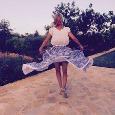 Ibiza!#worldfamily#ibizastyle#whitepeasanttop#flowingskirt#bolerostyle#whiteflowerbelt#whitewedges#summertime#feelingfree#flowingskirt#bohochic