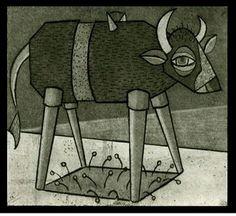 "Tara Murino-Brault  Intaglio Etching  ""Cow"""