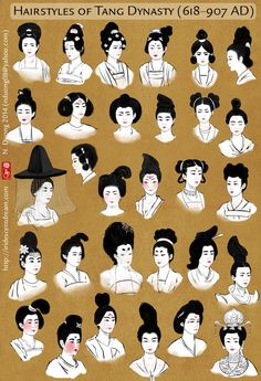 This is a chart showing different eyebrow trends in the Tang Dynasty. It's based on a chart in Chinese Clothing by Hua Mei and Gao Chunming you . Painted Eyebrow Trends in Tang Dynasty Traditional Hairstyle, Traditional Outfits, Traditional Chinese Clothing Female, Chinese Culture, Chinese Art, Chinese Model, Character Inspiration, Character Design, How To Draw Hair