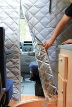 Fiamma Thermo Wall Ducato, panel van insulation. Hanging a flat panel of insulation makes a lot more sense than trying to wrap the inside of a windshield!