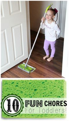 10 Fun Chores for Toddlers! #kids #cleaning