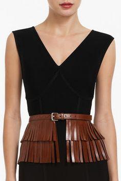 Leather fringe belt