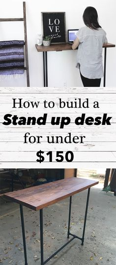 EASY DIY PIPE STAND UP DESK  COST: $150 (approx.) INDUSTRIAL/FARMHOUSE DECOR