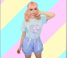 Japanese fairy kei brand Milklim t-shirt with pastel unicorn print and ribbon trim bowaround the heart. Harajuku Girls, Harajuku Fashion, Kawaii Fashion, Liz Lisa, Sanrio Hello Kitty, Little Twin Stars, Japanese Outfits, Kawaii Clothes, Japanese Street Fashion