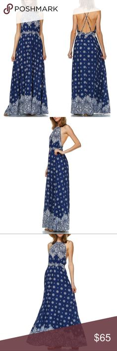LAST LOU floral print halter maxi -NAVY BLUE 100% Rayon. 🚨PRICE FIRM🚨 Bellanblue Dresses Maxi