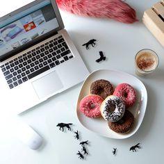 Sweet! #donut #donuts #coffee #morning #macbook #sweet #table #white #breakfast #food #sugar #diet #laser #cut