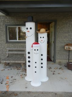 Snowmen for local grocery store display, done by karls woodworking.  Piping and some wood for base.