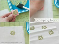 Hand-carved stamps on fabric.