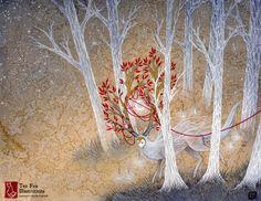 Capturing Fate / Deer Cervine Yokai / by TeaFoxIllustrations