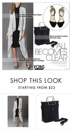 """Yoins42: Gray & Black"" by shambala-379 on Polyvore featuring cardigan, grayandblack and yoins"