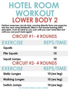 Lower Body Hotel Room Workout- bodyweight only, no equipment required!