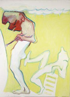 Maria Lassnig - Pushing the Artist (Yellow), 2008 Oil on canvas 200 x 150 cm (http://www.hauserwirth.com)