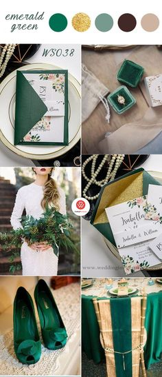 Top 9 Fall Wedding Color Schemes for 2019—emerald green and gold, wedding invitations cheap for woodland vintage weddings,