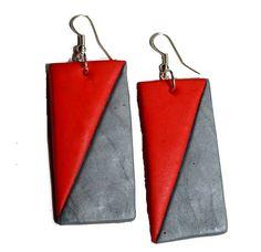 Jewellery handmade Red Geometric by MajorMinorShop on Etsy