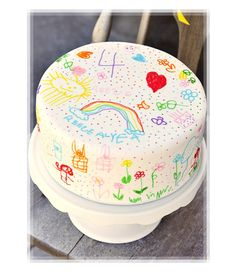 Kids Rainbow Icing Coloring Birthday Cake