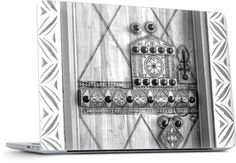 Qassim Door Laptop cover by Blueabaya Designs #laptopcover #macbook #PC #doorsofthemagickingdom #saudiarabia #heritage #tribal  #blackandwhite #design #photography
