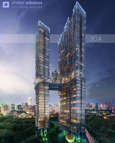 """""""Twin Tower Jakarta Alex Gunawan for 3DA Australia #dnastudio #architect #architecture #архитектура #render #archicad #light #architecturedesign…"""""""