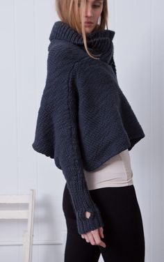 chunky reversible inset cardigan. I don't know why I like this - oh yes - the long sleeves with the thumb hole!