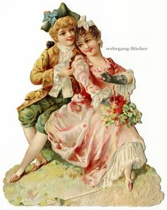 Vintage Victorian Die Cut Paper Scrap Rococo Couple in Love from C 1880