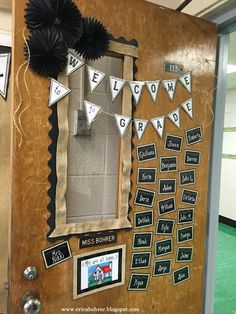 Door Decor: Farmhouse Style Classroom Decor with burlap and black