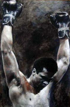 Triumph Muhammad Ali 1994, PSA-DNA hologram by Stephen Holland, Original Painting, Oil on Canvas
