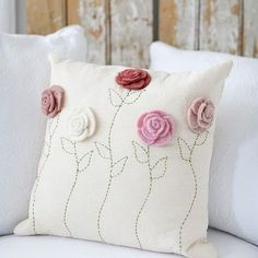 Sewing Pillows - Description - Artisan - Artisan Photo - Hang Tag Felt roses blossom atop a linen pillowcase that's finished with hand-embroidered stems. * Hand wash * Approximately x * Design on Front * Pil - Crochet Cushions, Sewing Pillows, Crochet Pillow, Diy Pillows, Decorative Pillows, Throw Pillows, Pillow Ideas, Shabby Chic Pillows, Felt Roses