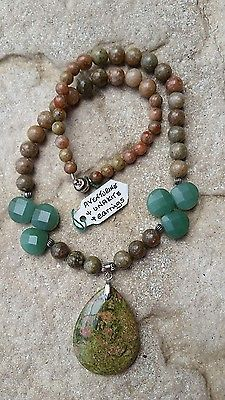 Aventurine And Unakite Pendant Necklace