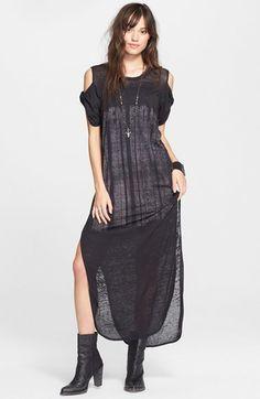 Free People 'Kick Around' Cold Shoulder Maxi Dress #freepeople #black #boho #dress #fashion #sheer