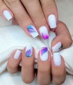 Beautiful Nail Designs For Spring Winter Summer And Fall For Trending Season 09 - Best Nail Art Short Nail Designs, Nail Designs Spring, Cool Nail Designs, Spring Nail Art, Spring Nails, Acrylic Nails For Spring, Feather Nails, Nagellack Design, Trendy Nail Art