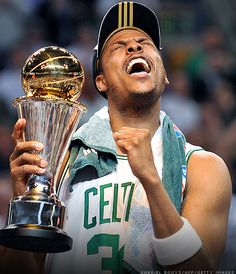 The Truth a.k.a. Paul Pierce celebrating with his Finals MVP trophy after the 2008 NBA Finals