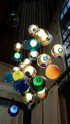 Glass ball chandeliers