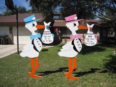 Check out our twin stork yard sign birth announcements! http://www.urbanstorks.com/pricing/ - Twin signs are $150 for a 7-day rental.