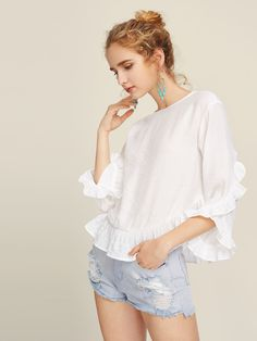Shop Buttoned Keyhole Back Frill Trim Top online. SheIn offers Buttoned Keyhole Back Frill Trim Top & more to fit your fashionable needs.