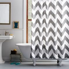 Zigzag Shower Curtain The peak of chic. Our Zigzag Shower Curtain's graphic chevron pattern offers a fresh update on classic stripes. cotton canvas in Feather Gray. x Recommended for use with west elm's Shower Liner (sold separately). Striped Shower Curtains, Fabric Shower Curtains, Bathroom Shower Curtains, Bath Shower, Bathroom Towels, Burnt Orange Bathrooms, Orange Bathroom Decor, Chevron Bathroom, Upstairs Bathrooms