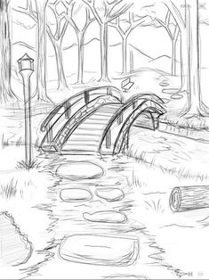 bridge_over_he_river_wip ___ × - Zeichnung ideen bleistift - Drawing Art Drawings Sketches Simple, Pencil Art Drawings, Easy Drawings, Easy Nature Drawings, Pencil Sketches Simple, Drawings On Hands, Pencil Sketches Of Nature, Drawings Of Love, Pencil Sketching