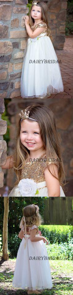 Cap Sleeve Tulle Sequin Flower Girl Dresses, Cheap Lovely Little Girl Dresses, LB0964