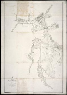 1854 map of Waitemata River, surveyed by Commander Drury and officers of the HMS Pandora. Henderson's Mill is shown at the bottom of Mill River. Boat Rock. Kauri Point. Hillyer Creek.