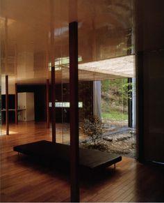 "Ryue Nishizawa /// Weekend House /// Usui-gun, Gunma, Japan /// 1997 OfHouses presents ""Pritzkers' First Houses"": In 2010 the Pritzker Prize was awarded to both Kazuyo Sejima and Ryue Nishizawa. Gunma, Patio Interior, Interior Design, Ryue Nishizawa, Weekend House, New Builds, Indoor Outdoor, Pergola, Architecture"