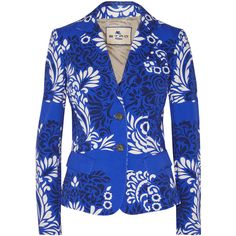 Etro Printed cotton-blend twill blazer ($540) ❤ liked on Polyvore featuring outerwear, jackets, blazers, blue, slim blazer jacket, slim fit blazer, slim fit blue blazer, twill blazer and etro jacket