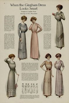 """""""When the Gingham Dress Looks Smart"""", fashion plate, 1911."""