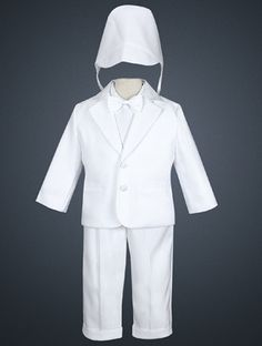 Baby boys white satin tuxedo perfect for baptism, christening or weddings. Includes cap, shirt, bowtie, jacket, and pants.  Only 50$