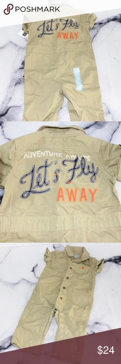 Gap Let's Fly Away Pilot Flight Suit 12-18 months Condition: NWT  Stretch: none. Piling or Flaws: none. I accept only serious offers of over 50% of my asking price🖤 GAP One Pieces Bodysuits