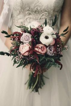 Moody bridal bouquet of fresh roses, peonies, and anemones. Burgundy and blush wedding bouquet. Moody bridal bouquet of fresh roses, peonies, and anemones. Burgundy and blush wedding bouquet. Boquette Wedding, Wedding Flower Guide, Winter Wedding Flowers, Winter Weddings, Wedding Ideas, Ivory Wedding, November Wedding Flowers, Wedding Trends, Wedding Bridesmaids