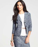 Two Button Tweed Jacket - Our ever polished tweed gets dressed for summer in ravishing yet refined navy and white, finished with breezy 3/4 sleeves. Notched lapel. Two button closure. Front flap besom pockets. Back belt detail at waist. Lined. 22 long.